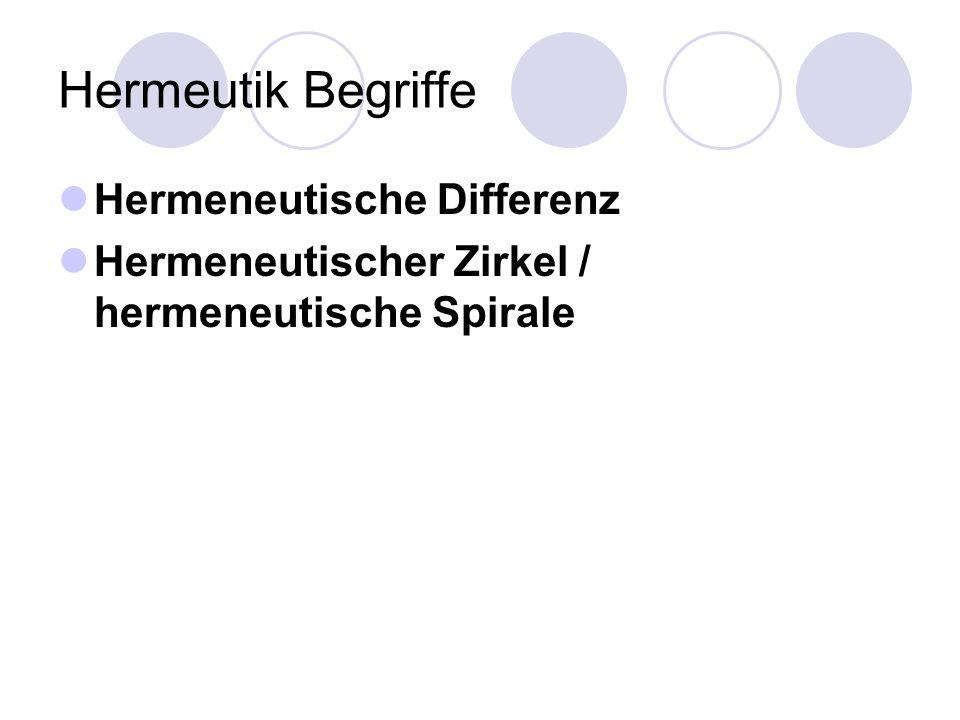 Hermeutik Begriffe Hermeneutische Differenz Hermeneutischer Zirkel / hermeneutische Spirale