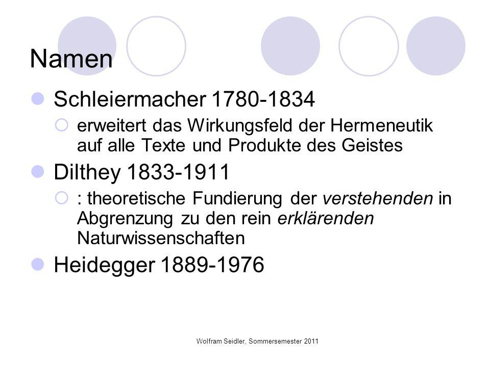 Wolfram Seidler, Sommersemester 2011 Namen Schleiermacher 1780-1834 erweitert das Wirkungsfeld der Hermeneutik auf alle Texte und Produkte des Geistes