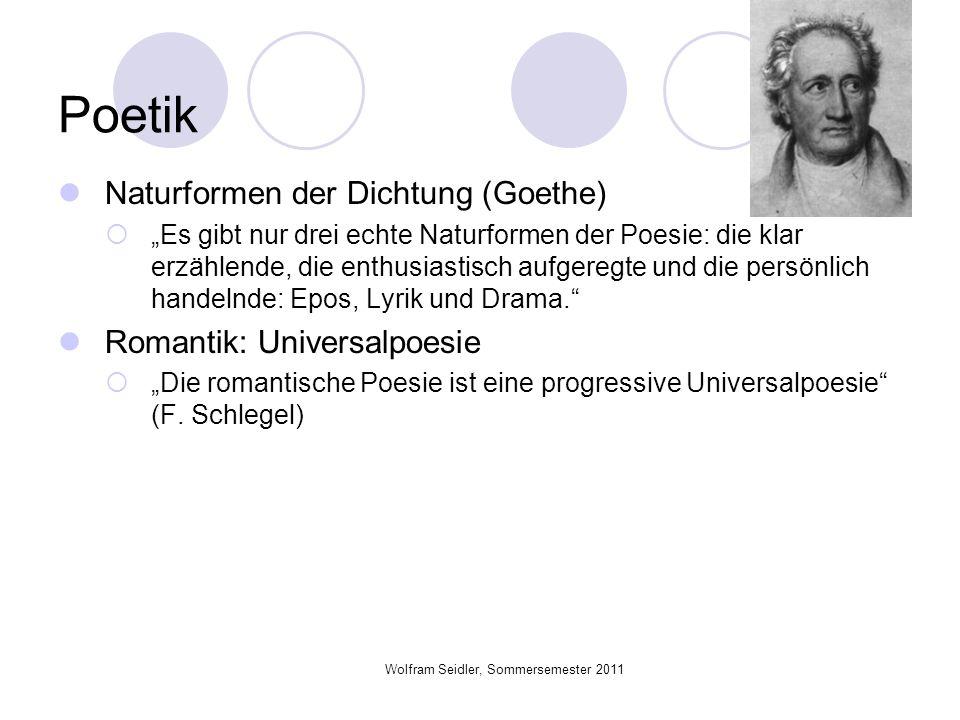 Wolfram Seidler, Sommersemester 2011 Poetik Naturformen der Dichtung (Goethe) Es gibt nur drei echte Naturformen der Poesie: die klar erzählende, die
