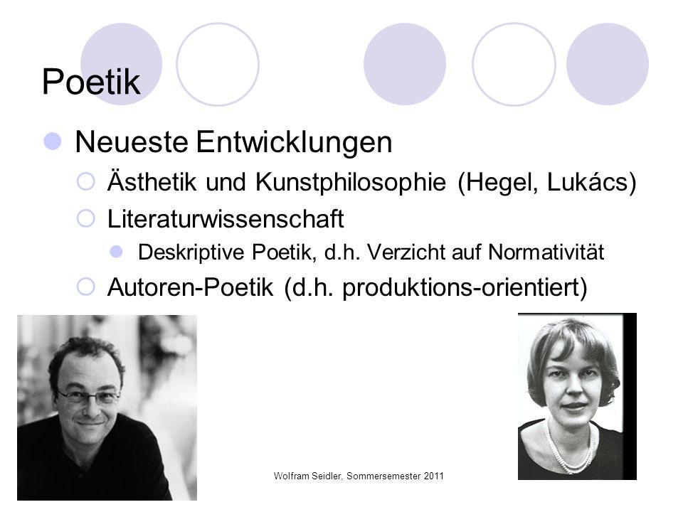 Wolfram Seidler, Sommersemester 2011 Poetik Neueste Entwicklungen Ästhetik und Kunstphilosophie (Hegel, Lukács) Literaturwissenschaft Deskriptive Poet