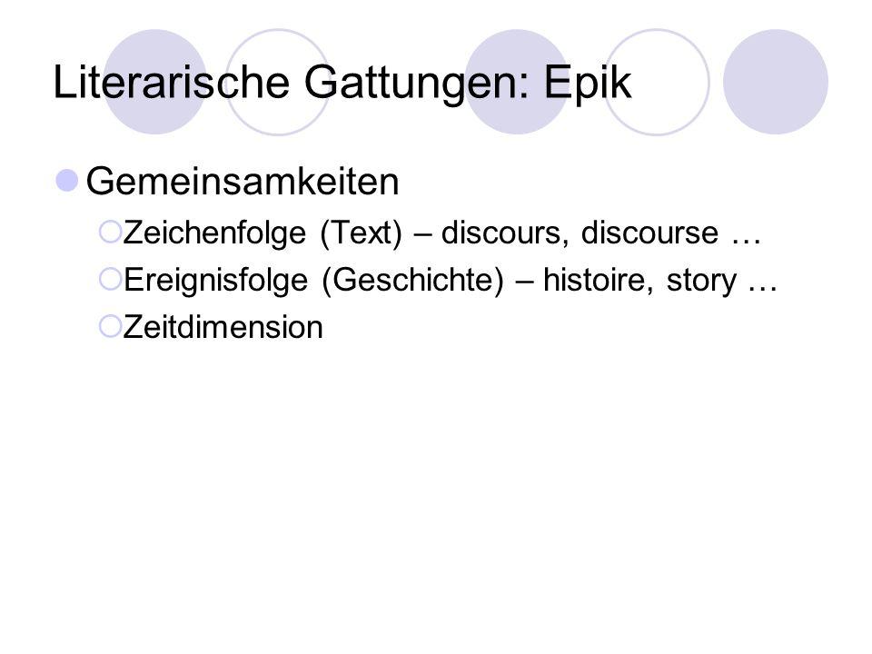 Literarische Gattungen: Epik Gemeinsamkeiten Zeichenfolge (Text) – discours, discourse … Ereignisfolge (Geschichte) – histoire, story … Zeitdimension