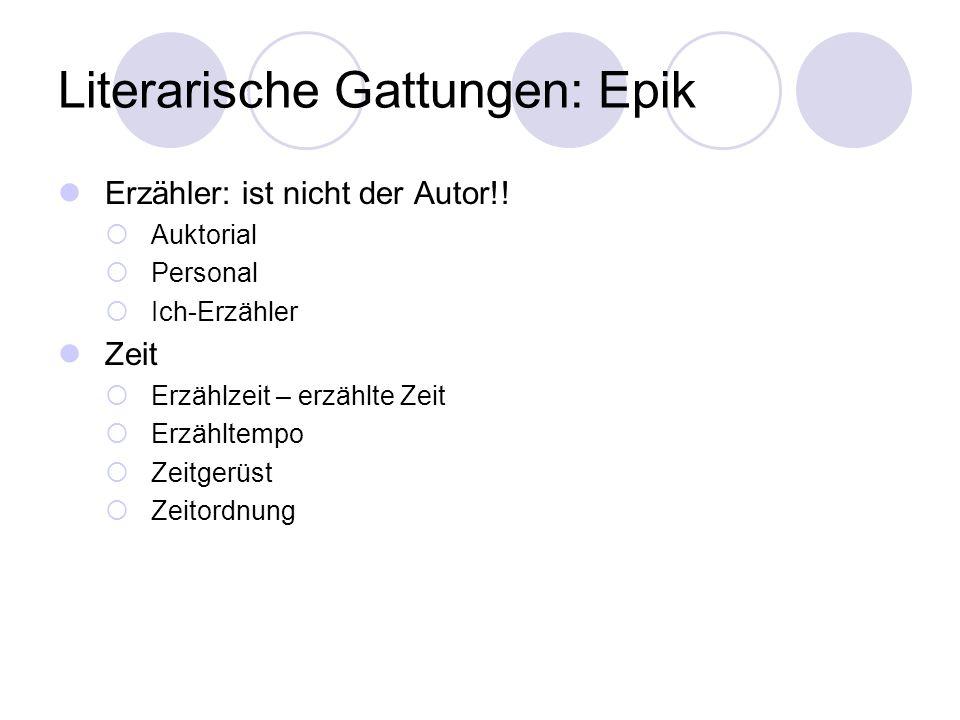 Literarische Gattungen: Epik Erzähler: ist nicht der Autor!! Auktorial Personal Ich-Erzähler Zeit Erzählzeit – erzählte Zeit Erzähltempo Zeitgerüst Ze