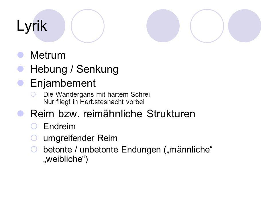 Lyrik Metrum Hebung / Senkung Enjambement Die Wandergans mit hartem Schrei Nur fliegt in Herbstesnacht vorbei Reim bzw. reimähnliche Strukturen Endrei