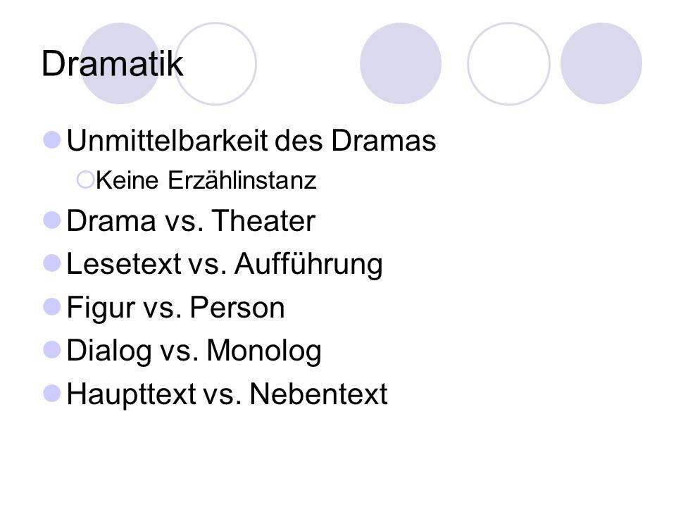 Dramatik Unmittelbarkeit des Dramas Keine Erzählinstanz Drama vs. Theater Lesetext vs. Aufführung Figur vs. Person Dialog vs. Monolog Haupttext vs. Ne