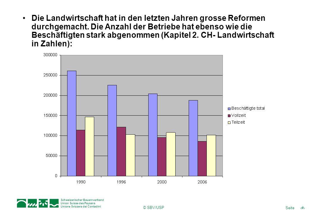 7Seite Schweizerischer Bauernverband Union Suisse des Paysans Unione Svizzera dei Contadini © SBV/USP Die Landwirtschaft hat in den letzten Jahren grosse Reformen durchgemacht.