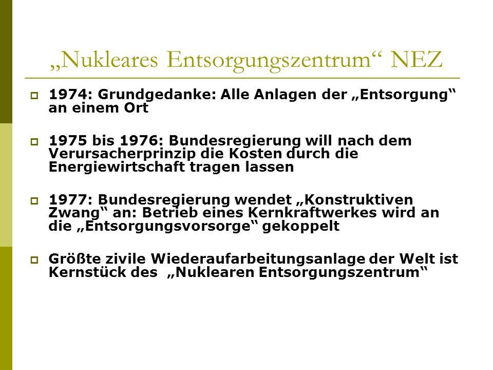 Nukleares Entsorgungszentrum NEZ 1974: Grundgedanke: Alle Anlagen der Entsorgung an einem Ort 1975 bis 1976: Bundesregierung will nach dem Verursacher