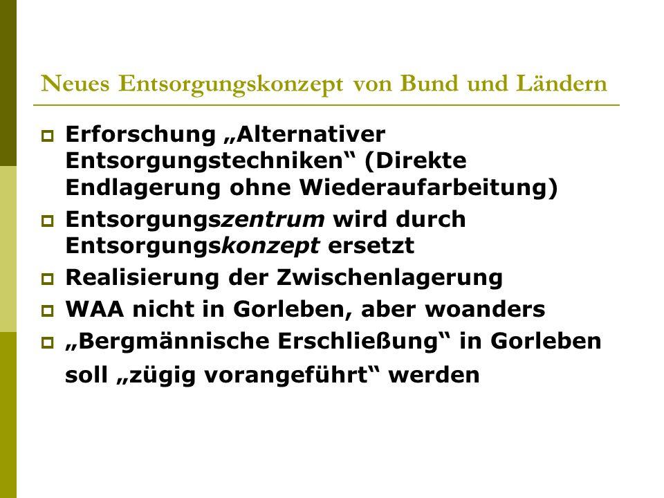 Neues Entsorgungskonzept von Bund und Ländern Erforschung Alternativer Entsorgungstechniken (Direkte Endlagerung ohne Wiederaufarbeitung) Entsorgungsz