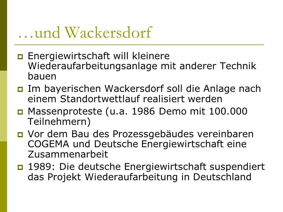 …und Wackersdorf Energiewirtschaft will kleinere Wiederaufarbeitungsanlage mit anderer Technik bauen Im bayerischen Wackersdorf soll die Anlage nach e