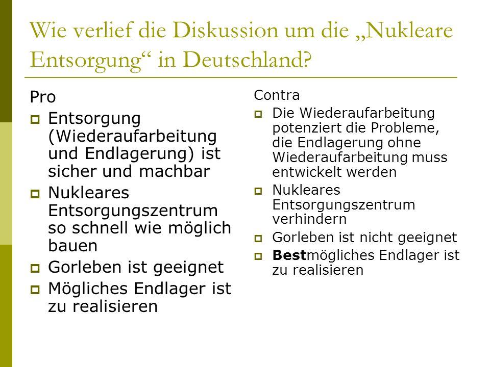Wie verlief die Diskussion um die Nukleare Entsorgung in Deutschland? Pro Entsorgung (Wiederaufarbeitung und Endlagerung) ist sicher und machbar Nukle