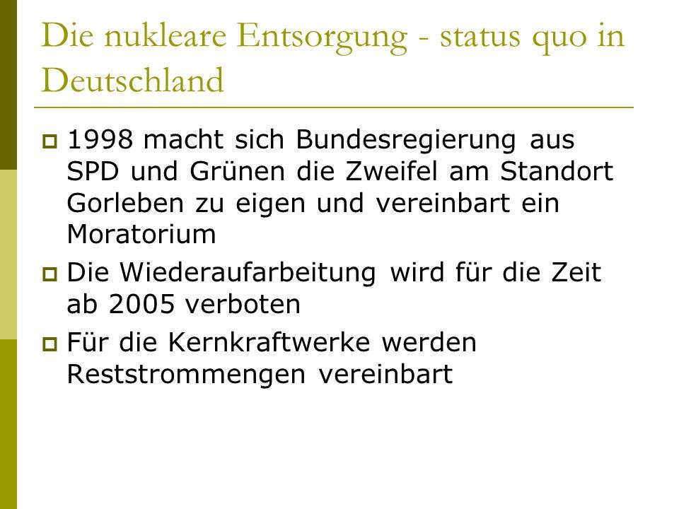 Die nukleare Entsorgung - status quo in Deutschland 1998 macht sich Bundesregierung aus SPD und Grünen die Zweifel am Standort Gorleben zu eigen und v
