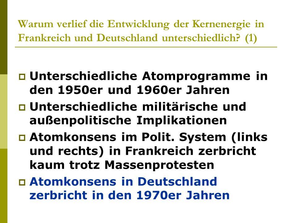 Warum verlief die Entwicklung der Kernenergie in Frankreich und Deutschland unterschiedlich? (1) Unterschiedliche Atomprogramme in den 1950er und 1960