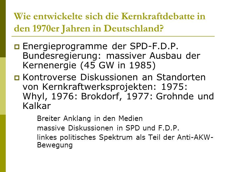 Wie entwickelte sich die Kernkraftdebatte in den 1970er Jahren in Deutschland? Energieprogramme der SPD-F.D.P. Bundesregierung: massiver Ausbau der Ke