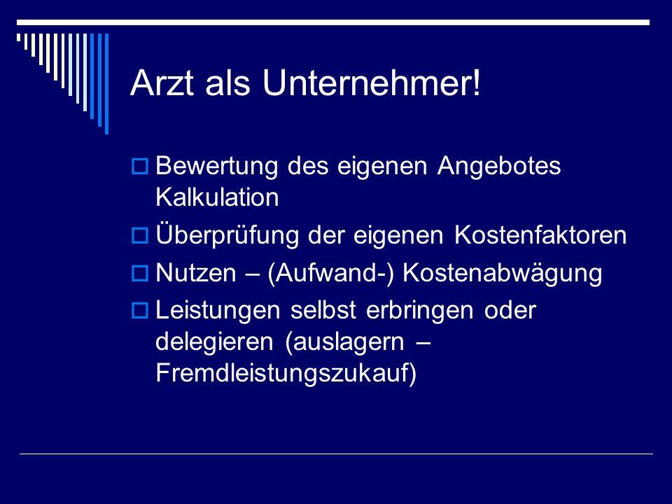 Kosten Fixkosten Miete Haustechnik (Betriebskosten der Räumlichkeit) Unternehmergehalt Variable Kosten Verbrauchsgüter Zinsen Steuern Kammerbeiträge etc.
