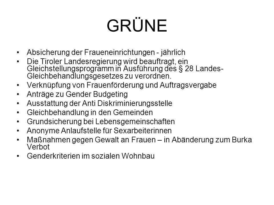 GRÜNE Absicherung der Fraueneinrichtungen - jährlich Die Tiroler Landesregierung wird beauftragt, ein Gleichstellungsprogramm in Ausführung des § 28 Landes- Gleichbehandlungsgesetzes zu verordnen.
