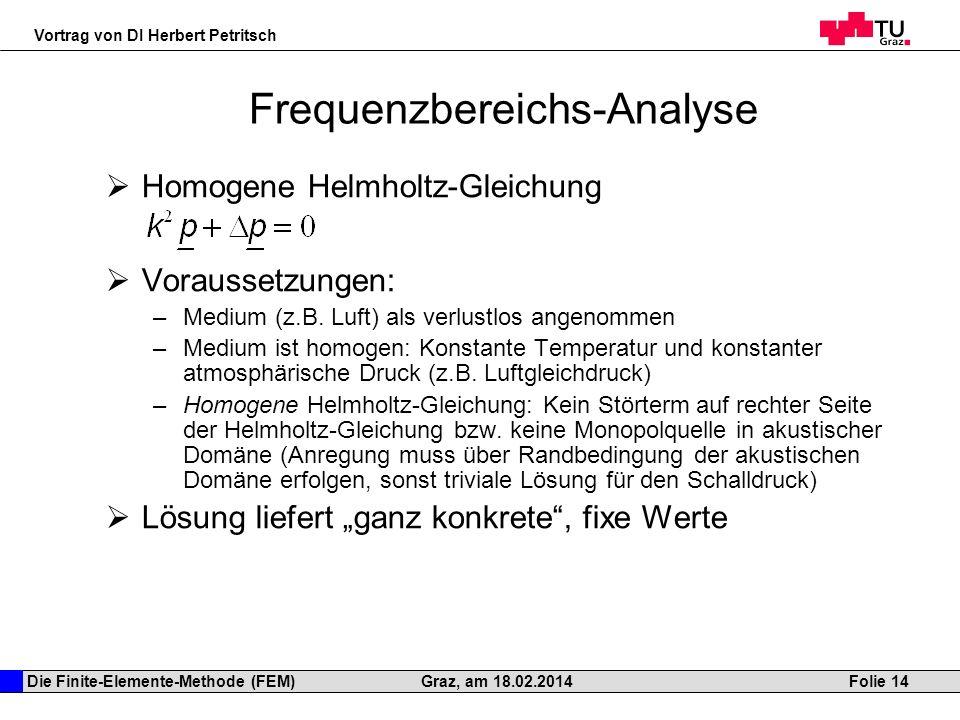 Die Finite-Elemente-Methode (FEM) Vortrag von DI Herbert Petritsch Folie 14Graz, am 18.02.2014 Frequenzbereichs-Analyse Homogene Helmholtz-Gleichung V