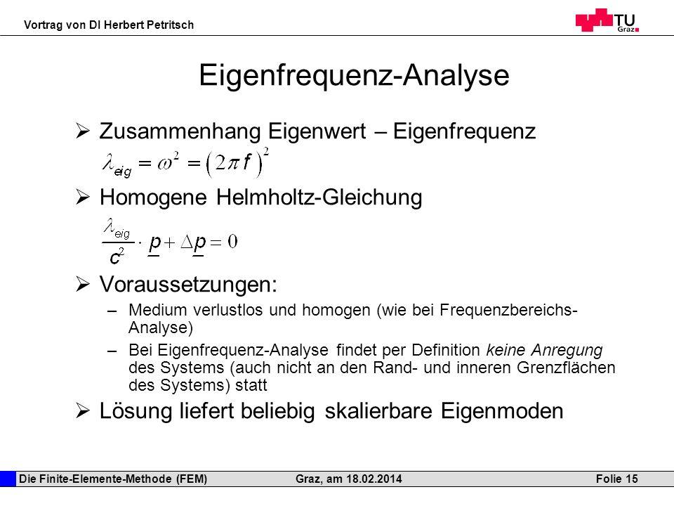 Die Finite-Elemente-Methode (FEM) Vortrag von DI Herbert Petritsch Folie 15Graz, am 18.02.2014 Eigenfrequenz-Analyse Zusammenhang Eigenwert – Eigenfre