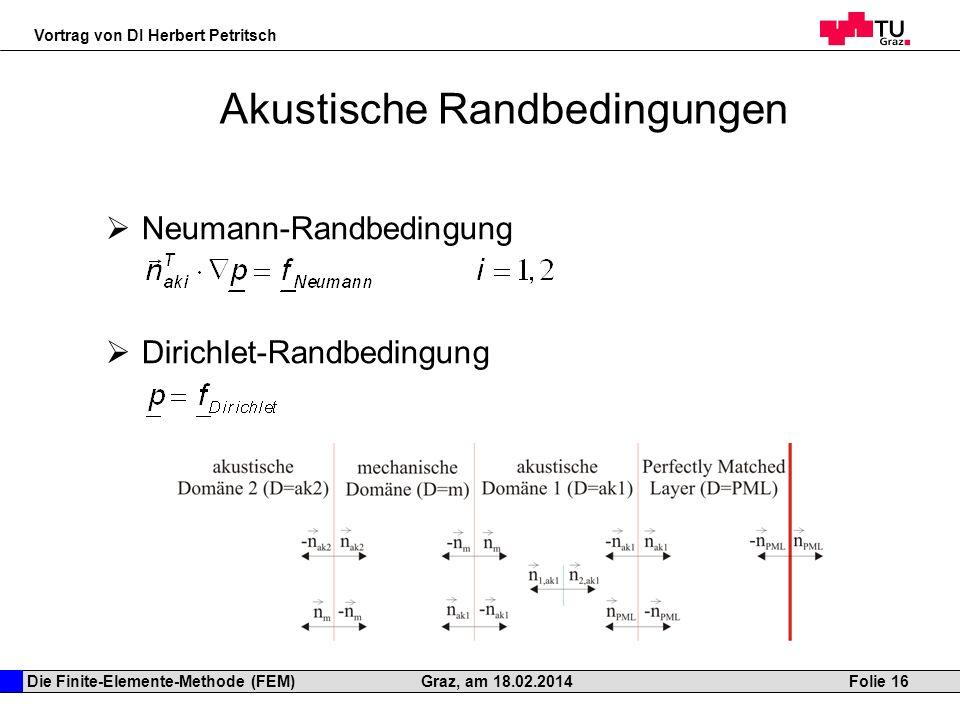 Die Finite-Elemente-Methode (FEM) Vortrag von DI Herbert Petritsch Folie 16Graz, am 18.02.2014 Akustische Randbedingungen Neumann-Randbedingung Dirich