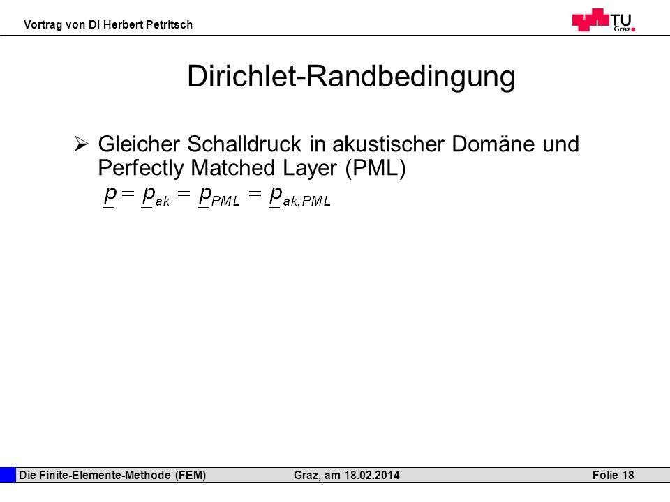 Die Finite-Elemente-Methode (FEM) Vortrag von DI Herbert Petritsch Folie 18Graz, am 18.02.2014 Dirichlet-Randbedingung Gleicher Schalldruck in akustis