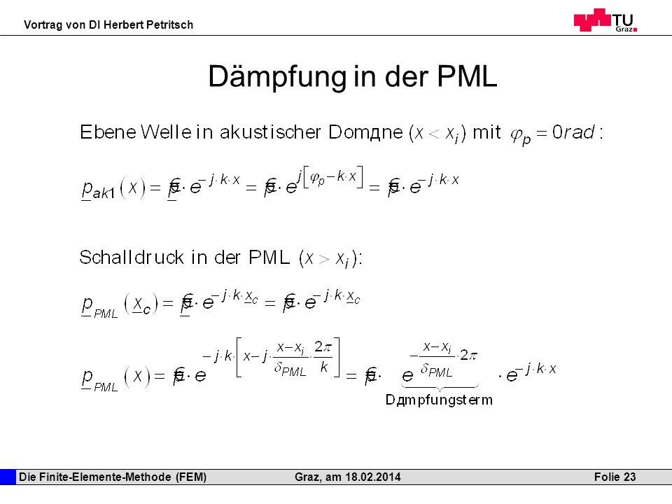 Die Finite-Elemente-Methode (FEM) Vortrag von DI Herbert Petritsch Folie 23Graz, am 18.02.2014 Dämpfung in der PML