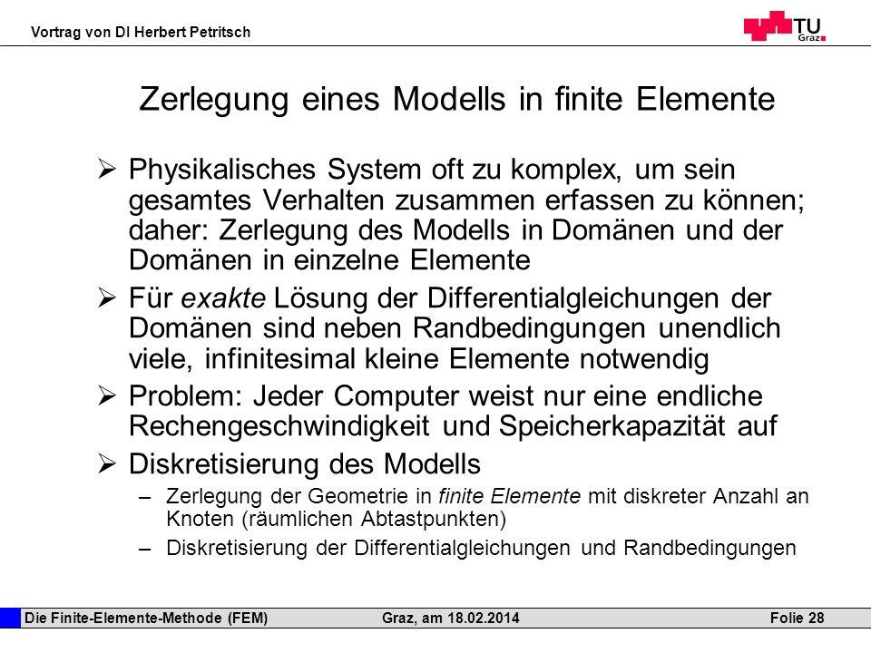 Die Finite-Elemente-Methode (FEM) Vortrag von DI Herbert Petritsch Folie 28Graz, am 18.02.2014 Zerlegung eines Modells in finite Elemente Physikalisch