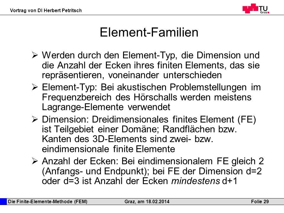 Die Finite-Elemente-Methode (FEM) Vortrag von DI Herbert Petritsch Folie 29Graz, am 18.02.2014 Element-Familien Werden durch den Element-Typ, die Dime