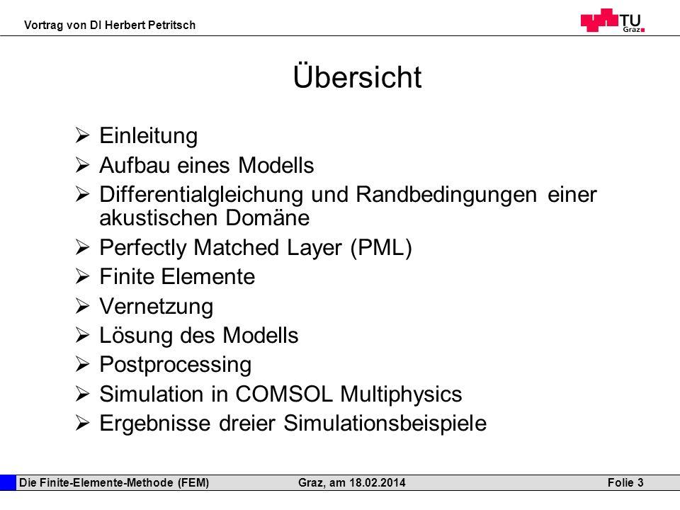 Die Finite-Elemente-Methode (FEM) Vortrag von DI Herbert Petritsch Folie 3Graz, am 18.02.2014 Übersicht Einleitung Aufbau eines Modells Differentialgl