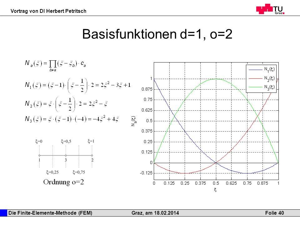 Die Finite-Elemente-Methode (FEM) Vortrag von DI Herbert Petritsch Folie 40Graz, am 18.02.2014 Basisfunktionen d=1, o=2
