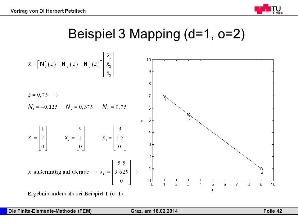 Die Finite-Elemente-Methode (FEM) Vortrag von DI Herbert Petritsch Folie 42Graz, am 18.02.2014 Beispiel 3 Mapping (d=1, o=2)