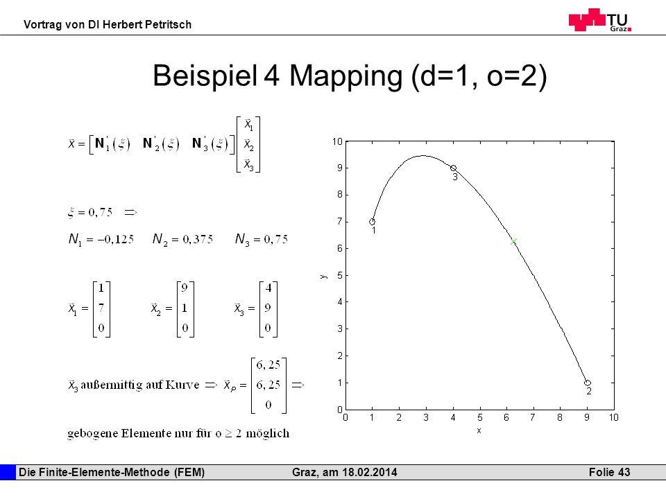 Die Finite-Elemente-Methode (FEM) Vortrag von DI Herbert Petritsch Folie 43Graz, am 18.02.2014 Beispiel 4 Mapping (d=1, o=2)