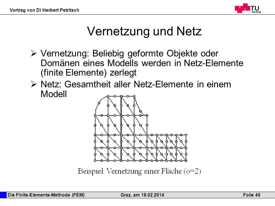 Die Finite-Elemente-Methode (FEM) Vortrag von DI Herbert Petritsch Folie 45Graz, am 18.02.2014 Vernetzung und Netz Vernetzung: Beliebig geformte Objek