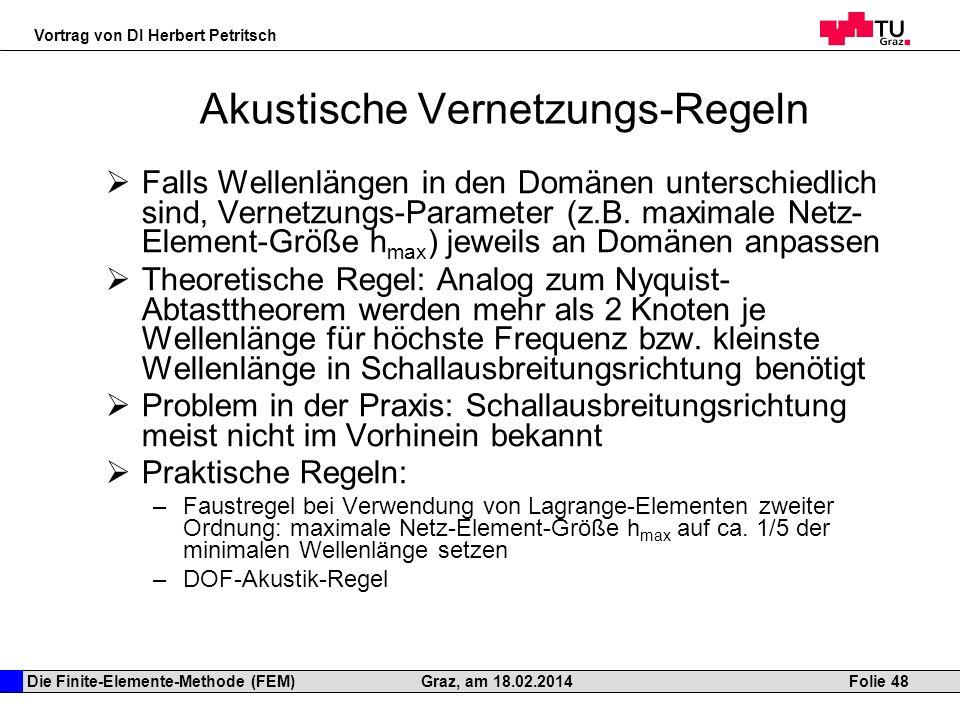 Die Finite-Elemente-Methode (FEM) Vortrag von DI Herbert Petritsch Folie 48Graz, am 18.02.2014 Akustische Vernetzungs-Regeln Falls Wellenlängen in den