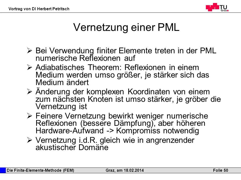 Die Finite-Elemente-Methode (FEM) Vortrag von DI Herbert Petritsch Folie 50Graz, am 18.02.2014 Vernetzung einer PML Bei Verwendung finiter Elemente tr