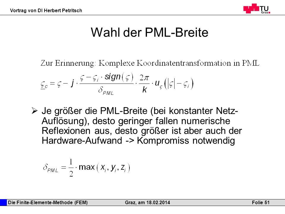 Die Finite-Elemente-Methode (FEM) Vortrag von DI Herbert Petritsch Folie 51Graz, am 18.02.2014 Wahl der PML-Breite Je größer die PML-Breite (bei konst