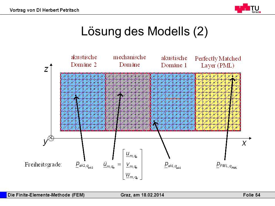 Die Finite-Elemente-Methode (FEM) Vortrag von DI Herbert Petritsch Folie 54Graz, am 18.02.2014 Lösung des Modells (2)