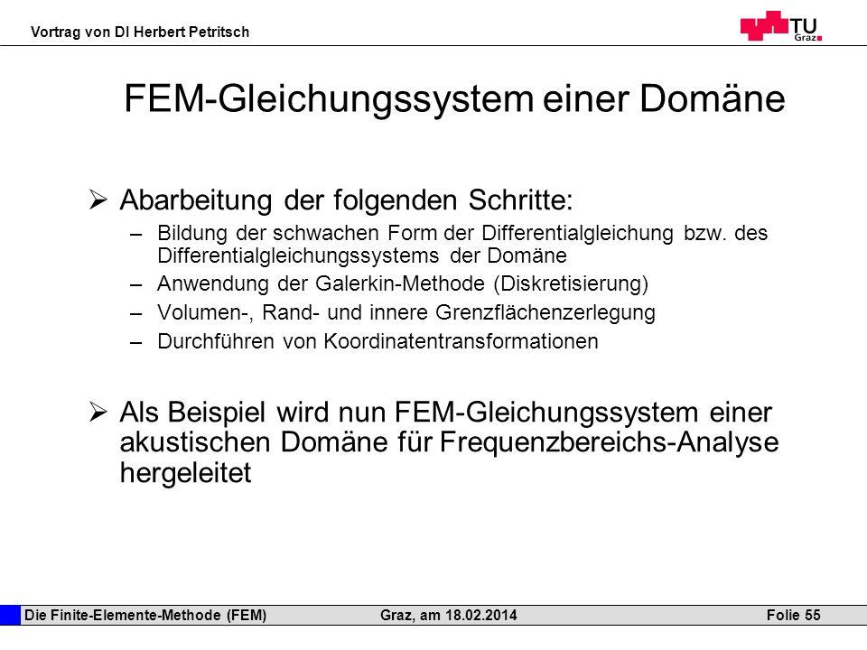 Die Finite-Elemente-Methode (FEM) Vortrag von DI Herbert Petritsch Folie 55Graz, am 18.02.2014 FEM-Gleichungssystem einer Domäne Abarbeitung der folge