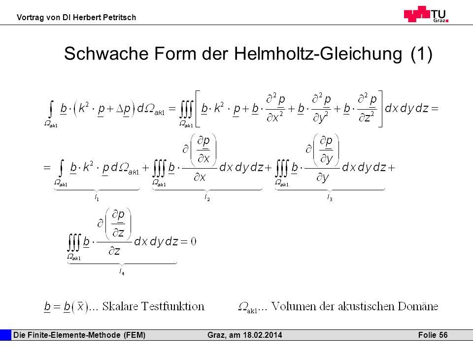 Die Finite-Elemente-Methode (FEM) Vortrag von DI Herbert Petritsch Folie 56Graz, am 18.02.2014 Schwache Form der Helmholtz-Gleichung (1)