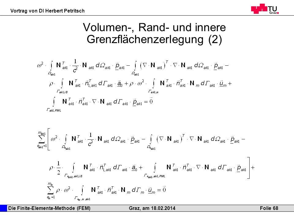 Die Finite-Elemente-Methode (FEM) Vortrag von DI Herbert Petritsch Folie 68Graz, am 18.02.2014 Volumen-, Rand- und innere Grenzflächenzerlegung (2)