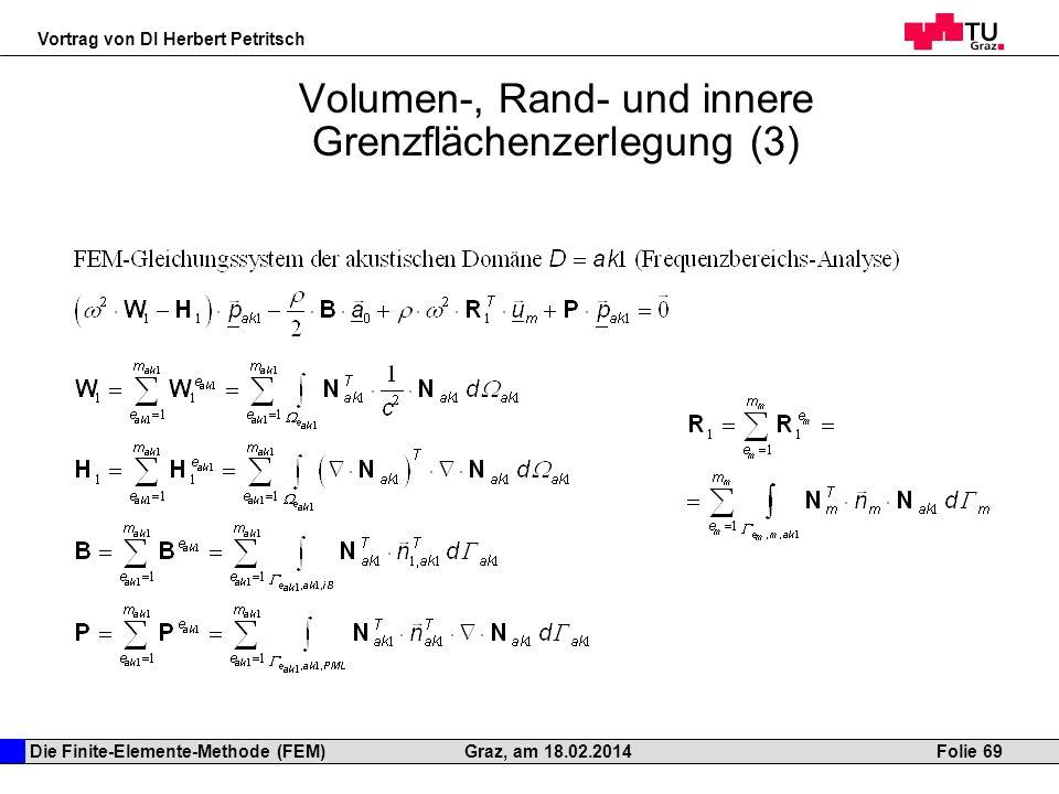Die Finite-Elemente-Methode (FEM) Vortrag von DI Herbert Petritsch Folie 69Graz, am 18.02.2014 Volumen-, Rand- und innere Grenzflächenzerlegung (3)
