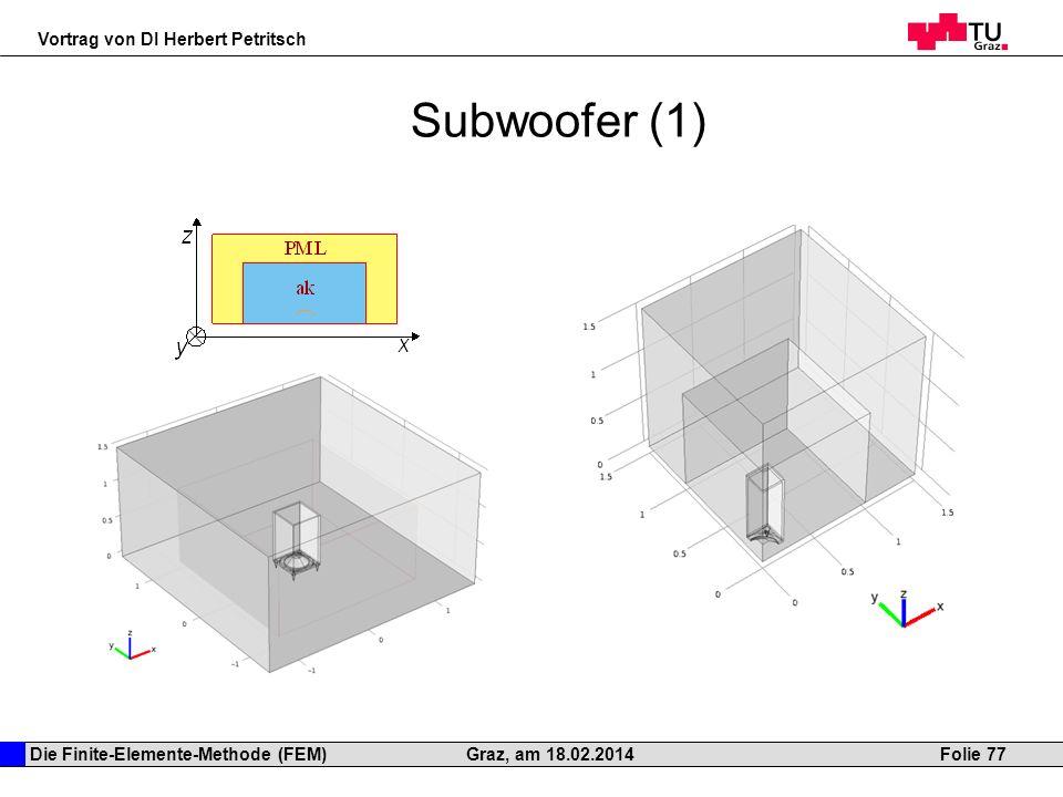 Die Finite-Elemente-Methode (FEM) Vortrag von DI Herbert Petritsch Folie 77Graz, am 18.02.2014 Subwoofer (1)