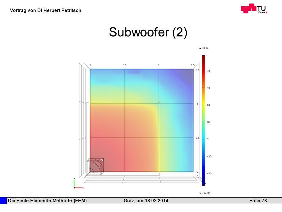 Die Finite-Elemente-Methode (FEM) Vortrag von DI Herbert Petritsch Folie 78Graz, am 18.02.2014 Subwoofer (2)