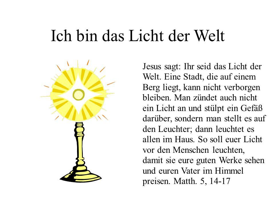 Ich bin das Licht der Welt Jesus sagt: Ihr seid das Licht der Welt. Eine Stadt, die auf einem Berg liegt, kann nicht verborgen bleiben. Man zündet auc