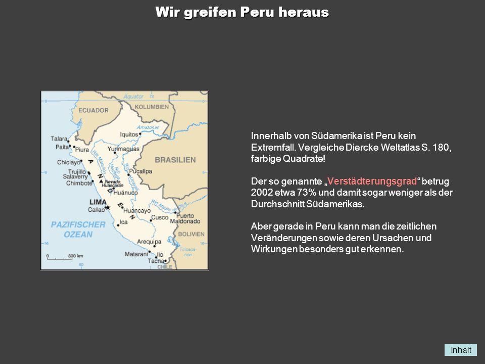 Inhalt Wir greifen Peru heraus Innerhalb von Südamerika ist Peru kein Extremfall. Vergleiche Diercke Weltatlas S. 180, farbige Quadrate! Der so genann