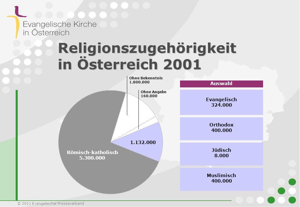 © 2011 Evangelischer Presseverband Ohne Bekenntnis 1.800.000 Römisch-katholisch 5.300.000 Ohne Angabe 160.000 Religionszugehörigkeit in Österreich 200