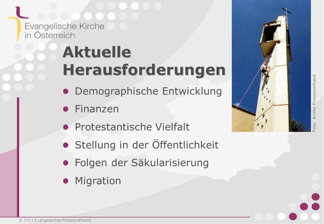 © 2011 Evangelischer Presseverband Aktuelle Herausforderungen Demographische Entwicklung Finanzen Protestantische Vielfalt Stellung in der Öffentlichk