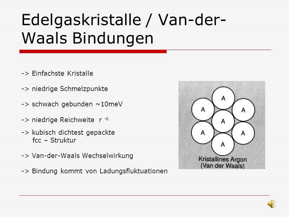 Allgemeine Größen -> Bindungsenergie / Kohässive Energie (0 - 10) eV pro Atom -> Gitterenergie -> Schmelztemperatur -> Elastizitätskonstante K, Schall