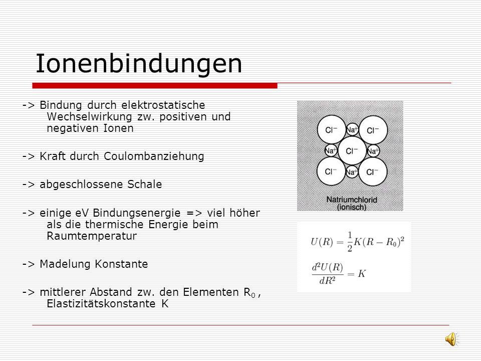 Edelgaskristalle / Van-der- Waals Bindungen -> Einfachste Kristalle -> niedrige Schmelzpunkte -> schwach gebunden ~10meV -> niedrige Reichweite r -6 -