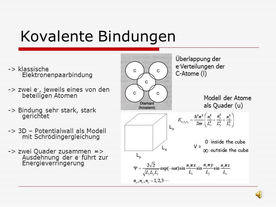 Ionenbindungen -> Bindung durch elektrostatische Wechselwirkung zw. positiven und negativen Ionen -> Kraft durch Coulombanziehung -> abgeschlossene Sc