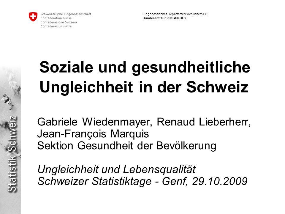 32 Soziale Ungleichheit und Gesundheit | Schweizer Statistiktage, 28.- 30.10.2009 Gabriele Wiedenmayer, Renaud Lieberherr, Jean-François Marquis Eidgenössisches Departement des Innern EDI Bundesamt für Statistik BFS Variables et analyses (2) 7 variables sociodémographiques: Sexe Âge: 25-39 ans; 40-54 ans; 55-64 ans Formation (3 niveaux) Catégorie socioprofessionnelle (6 (5) niveaux) Branche dactivité Taux dactivité: 20-89% / 90% et plus Type de famille