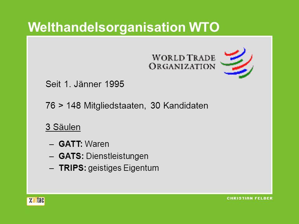 Institutioneller Autismus WTO ist keine Teilorganisation der UNO … UNDP - Entwicklung UNEP - Umwelt FAO - Ernährung ILO - Arbeit WHO - Gesundheit UNCTAD - Handel und Entwicklung … aber sie hat ein effizientes Gericht