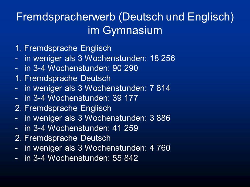 Fremdspracherwerb (Deutsch und Englisch) im Gymnasium 1. Fremdsprache Englisch -in weniger als 3 Wochenstunden: 18 256 -in 3-4 Wochenstunden: 90 290 1
